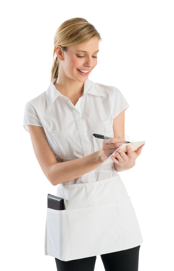 Download Waitress Smiling While Writing On Order Pad Stock Image - Image: 32146091