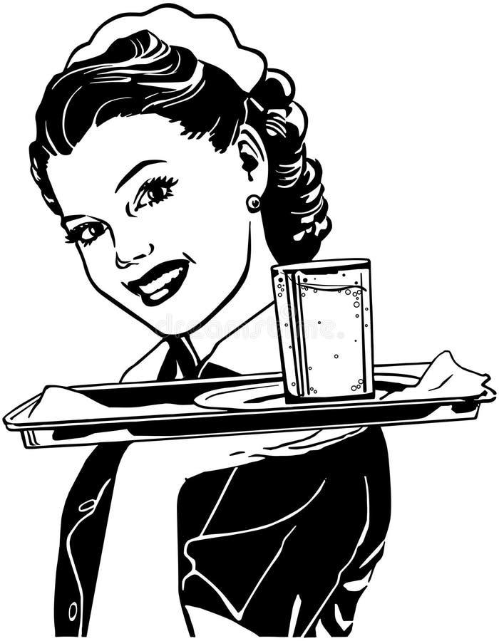 Waitress With Tray stock illustration