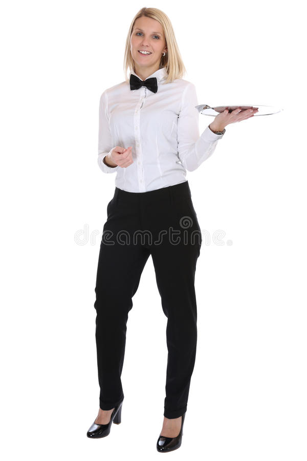 Waitress waiter female blond young woman serving with tray restaurant job full body isolated stock photography