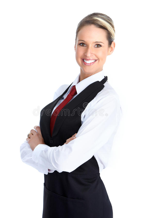 Waitress woman. Smiling waitress woman. Isolated over white background royalty free stock images