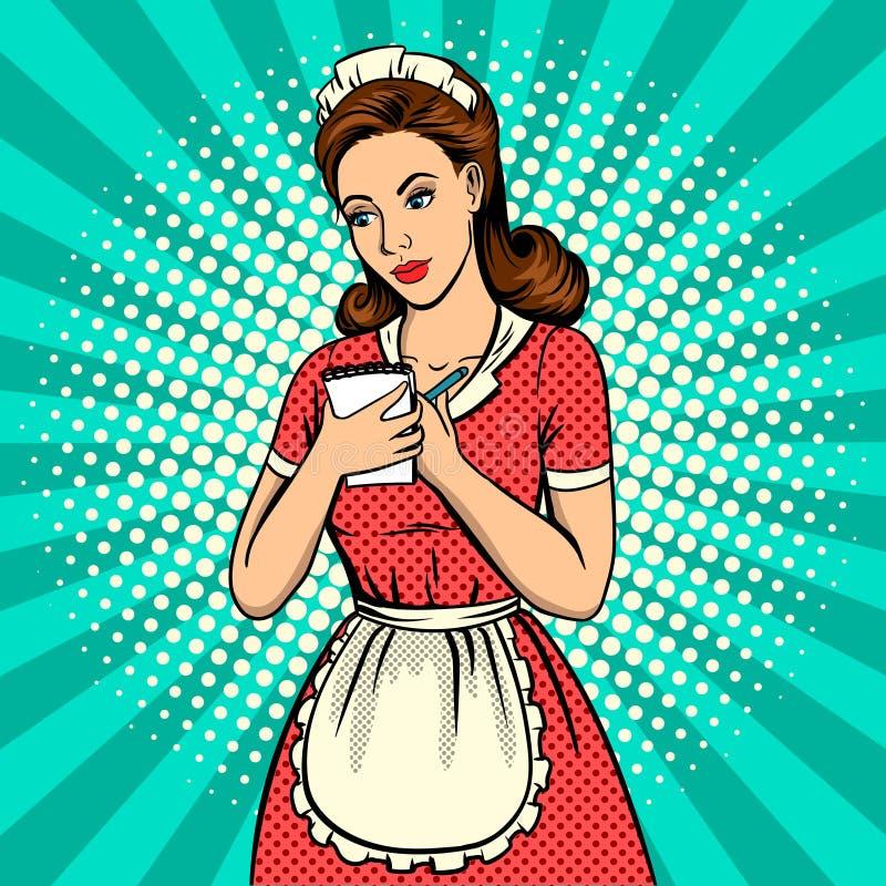 Waitress woman pop art vector illustration vector illustration