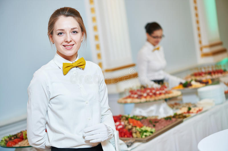 Waitress woman in restaurant royalty free stock image
