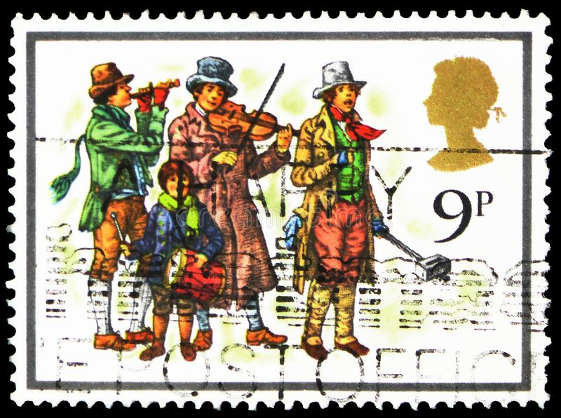 The Waits, Christmas 1978 - Carol Singers serie, circa 1978. MOSCOW, RUSSIA - FEBRUARY 22, 2019: A stamp printed in United Kingdom shows The Waits, Christmas stock photos