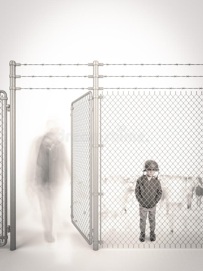 Waits for someone. Refugee child waits behind a border fence royalty free stock images
