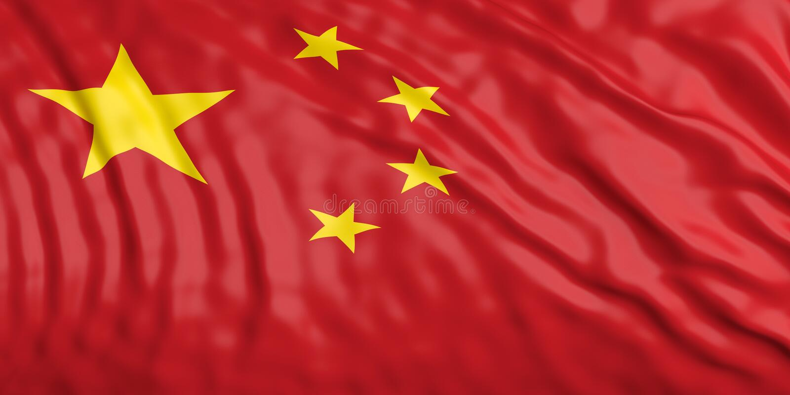 Waiving China flag. 3d illustration. Waiving in the wind flag of China. 3d illustration stock illustration