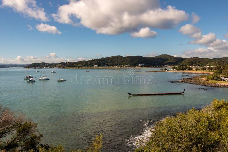 Waka Maori canoe, Waitangi Treaty Grounds, New Zealand royalty free stock image