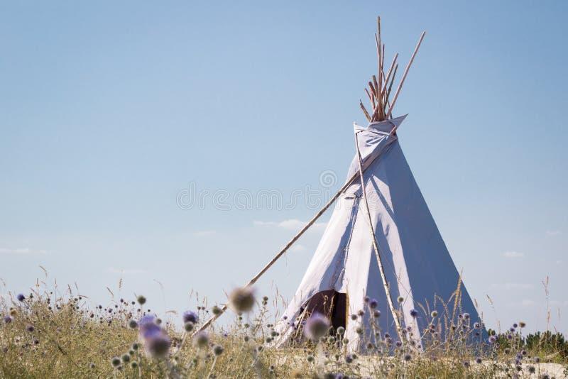 Wakacje campingowy namiot, indyjska wigwam buda w suchej dzikiej preryjnej step pustyni, zdjęcie stock