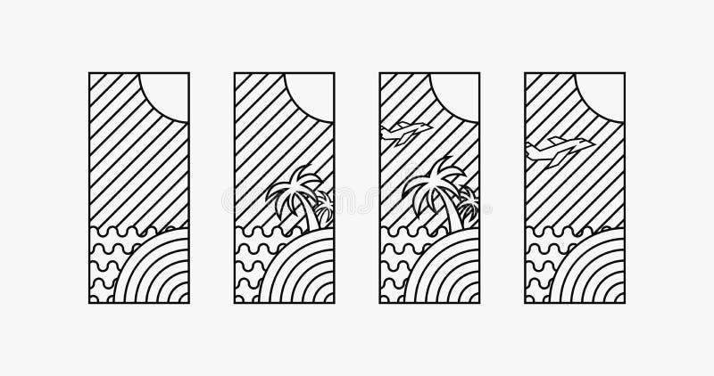 Wakacje czasu 4 logotypów projekt, cyfrowa sztuka royalty ilustracja