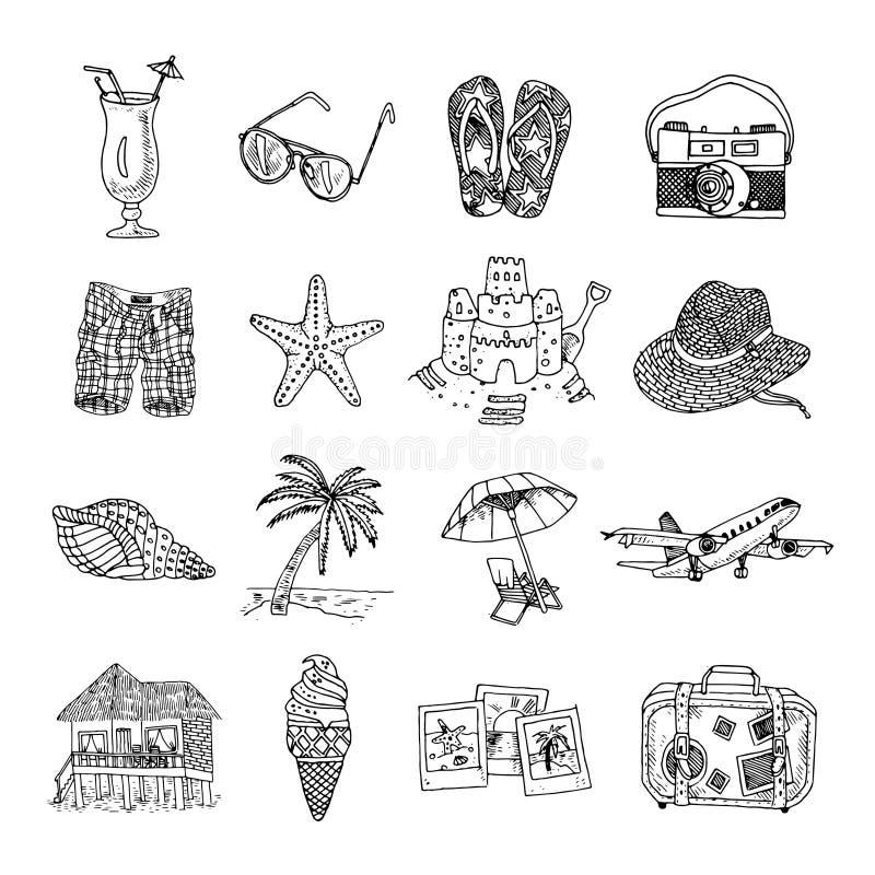 Wakacje doodle nakreślenia isons ustawiający royalty ilustracja