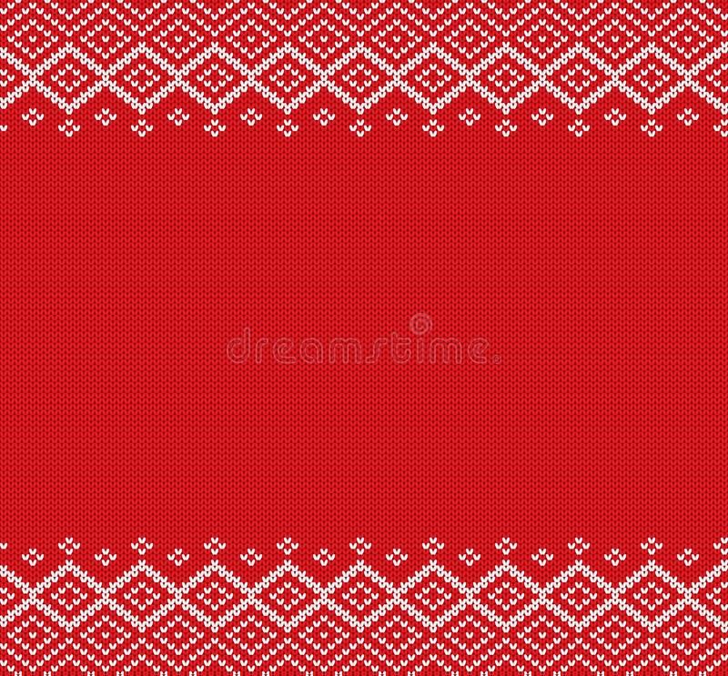 Wakacje dział geometrycznego ornament z pustą przestrzenią dla teksta Dzianin bożych narodzeń zimy puloweru projekt royalty ilustracja