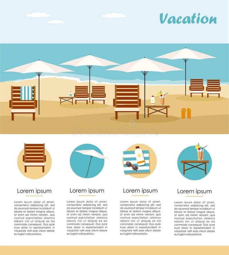 Wakacje i turystyka Bryczka parasol na plaży i hol Infographic ilustracji
