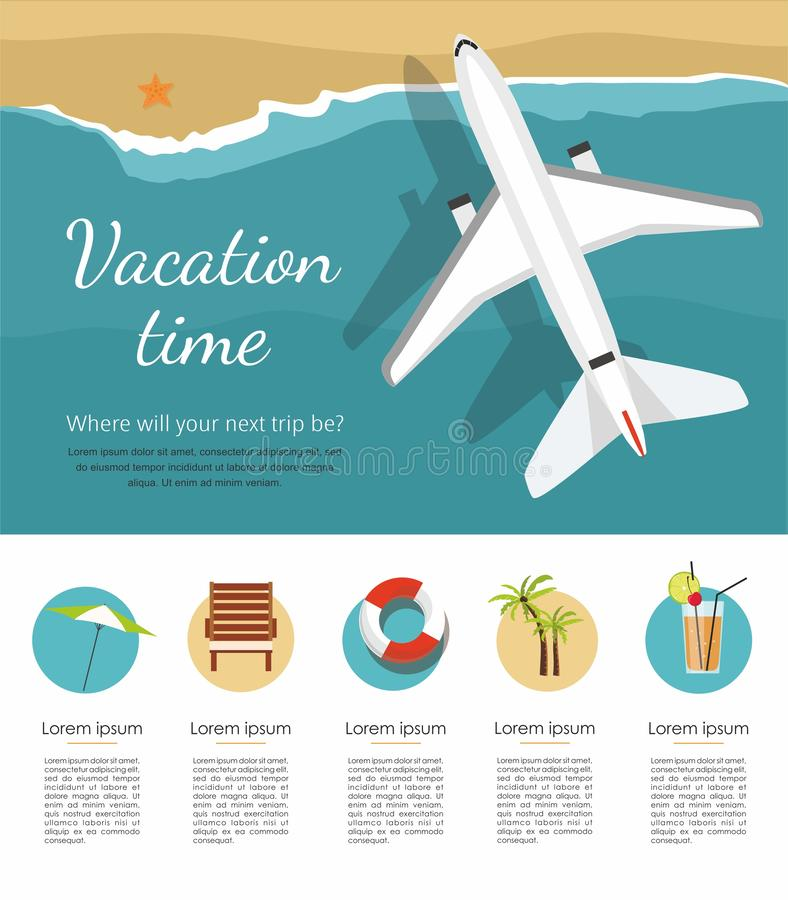 Wakacje i turystyka Samolot lata nad morzem, widok od above ikona ilustracja wektor