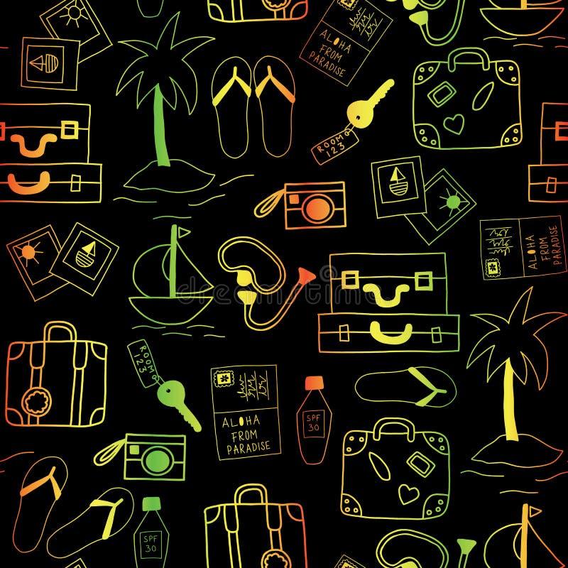 Wakacje ikon tła bezszwowy wektorowy czerń i neonowi kolory ilustracja wektor