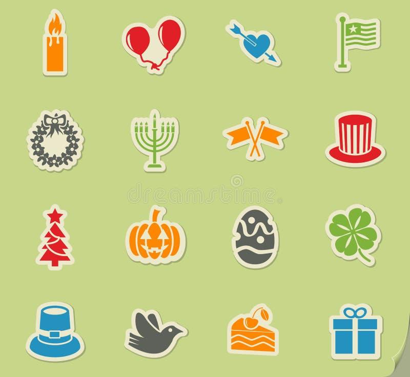 Wakacje ikony set ilustracji