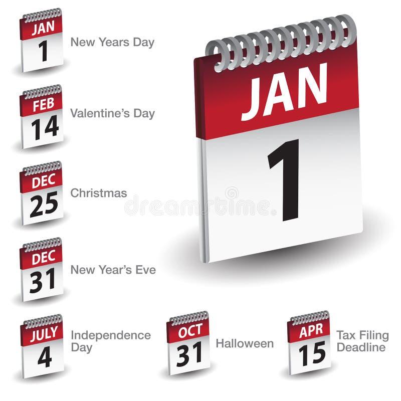 Wakacje Kalendarza Daty Ikony royalty ilustracja