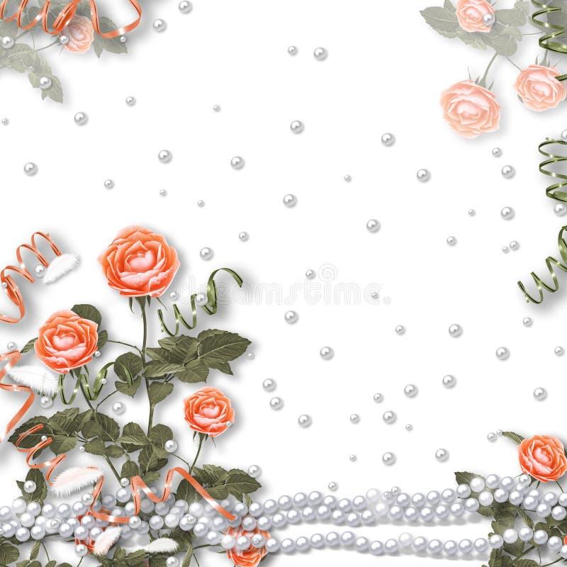 Wakacje karta z perłami i bukietem piękne czerwone róże na białym odosobnionym tle ilustracja wektor