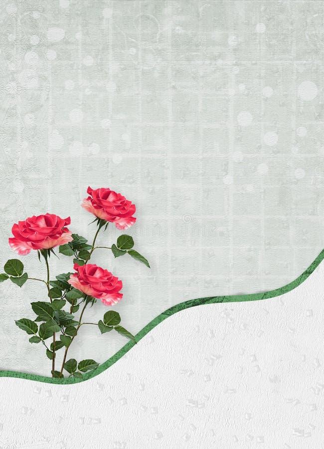 Wakacje karta z pięknymi różami i łęk dla fotografii dla zaproszenia ilustracji