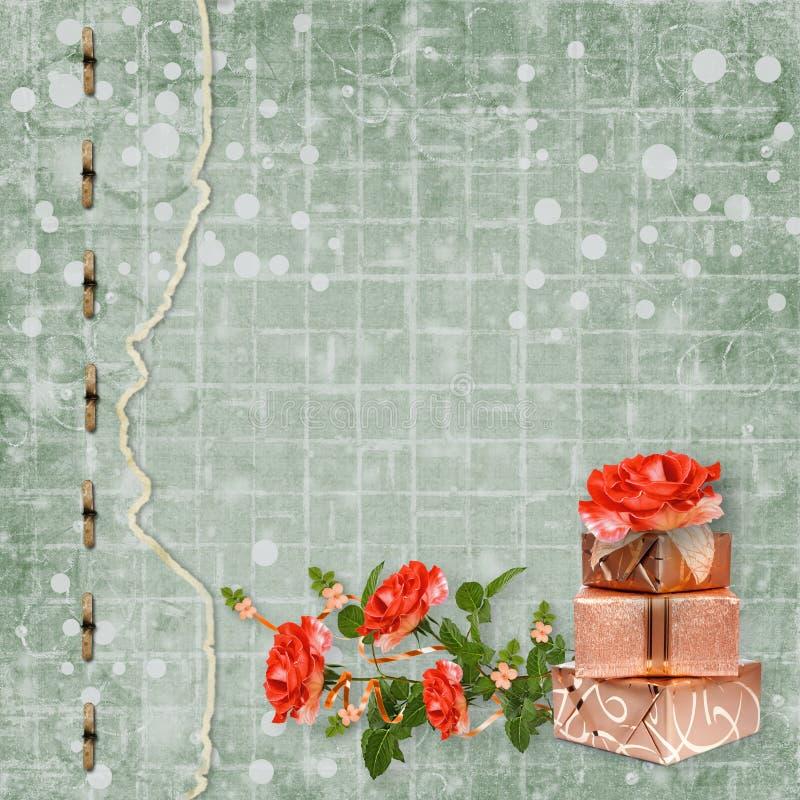 Wakacje karta z prezentów pudełkami i bukietem piękne czerwone róże na zielonego papieru tle royalty ilustracja
