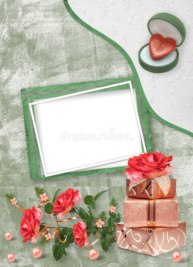 Wakacje karta z prezentów pudełkami, perłami, sercem i bukietem piękne czerwone róże na zielonego papieru tle, royalty ilustracja
