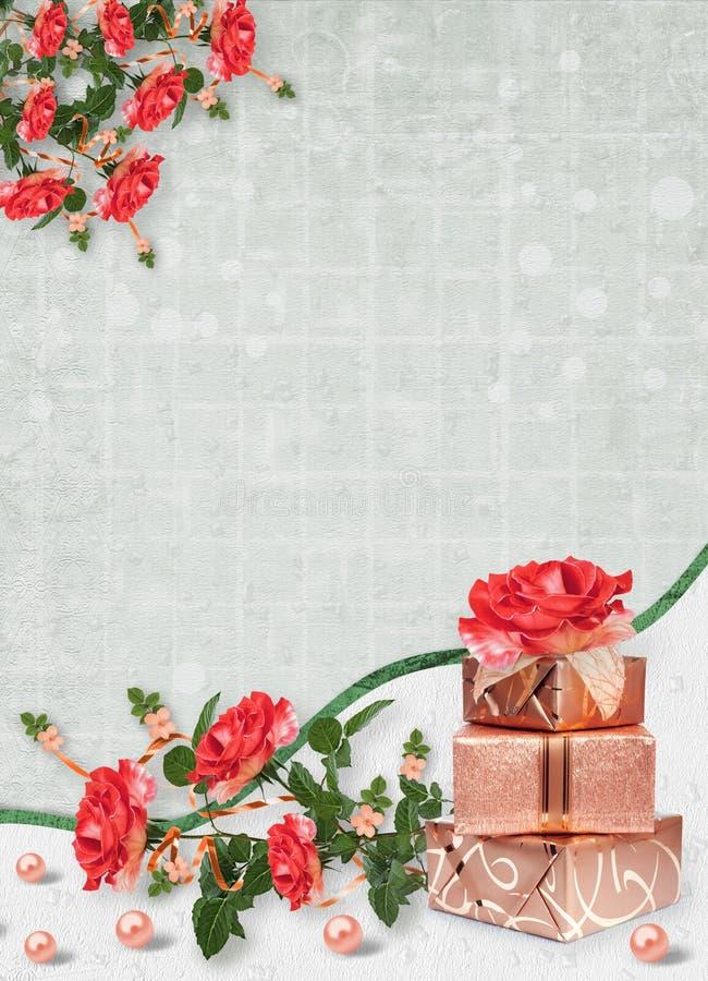 Wakacje karta z pudełkami, perłami i bukietem piękne czerwone róże na zielonego papieru tle prezenta, ilustracji