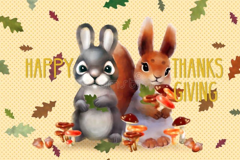 Wakacje karta z wiewiórką, jesień koloru liśćmi, pieczarkami i teksta ` dziękczynienia Szczęśliwym ` dla dziękczynienie dnia, ilustracja wektor