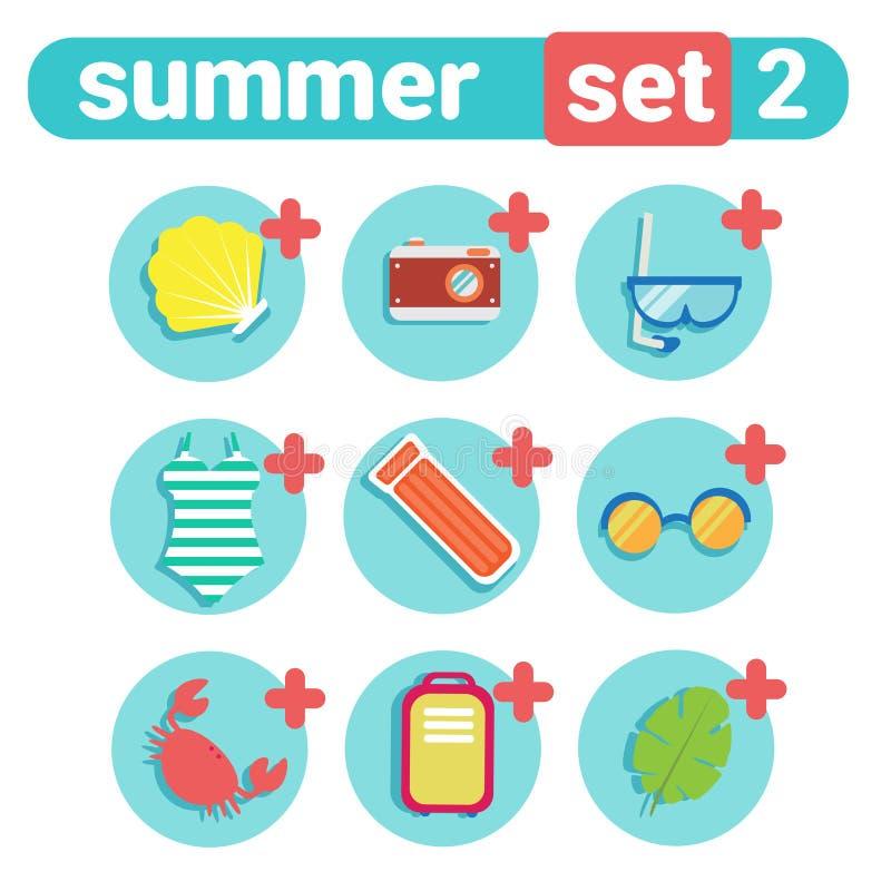 Wakacje Letni ikony setu plaży wakacje pojęcia podróży materiału kolekcja ilustracja wektor