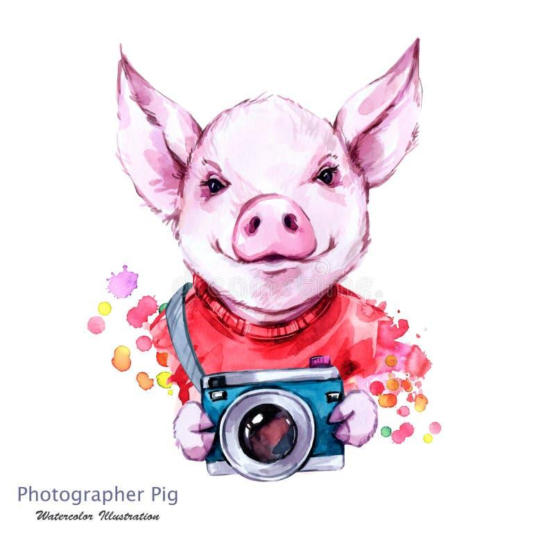 Wakacje Letni ilustracyjni Akwareli kreskówki świnia z kamerą zabawne fotograf _ Symbol 2019 rok royalty ilustracja