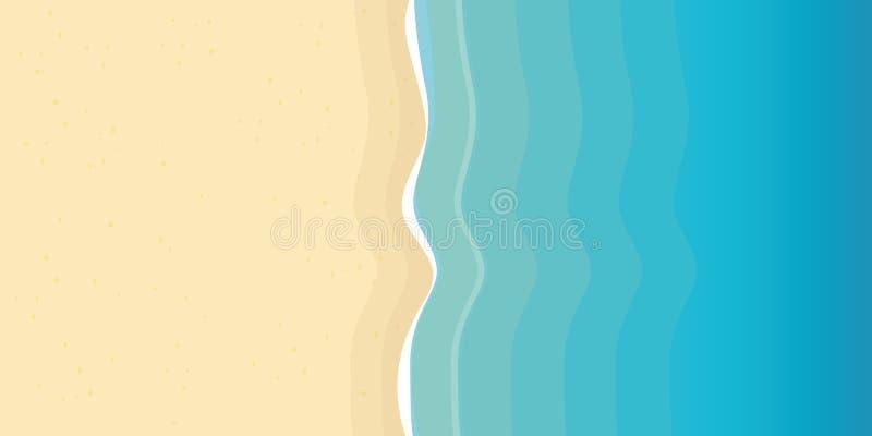 Wakacje letni na plażowym tle z piaska i turkusu wodą royalty ilustracja