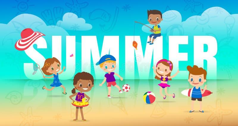 Wakacje letni na plaży, dzieci z wiele plenerowymi aktywność różnorodność dzieciaki z dużym lato listem na plażowym tle ilustracja wektor