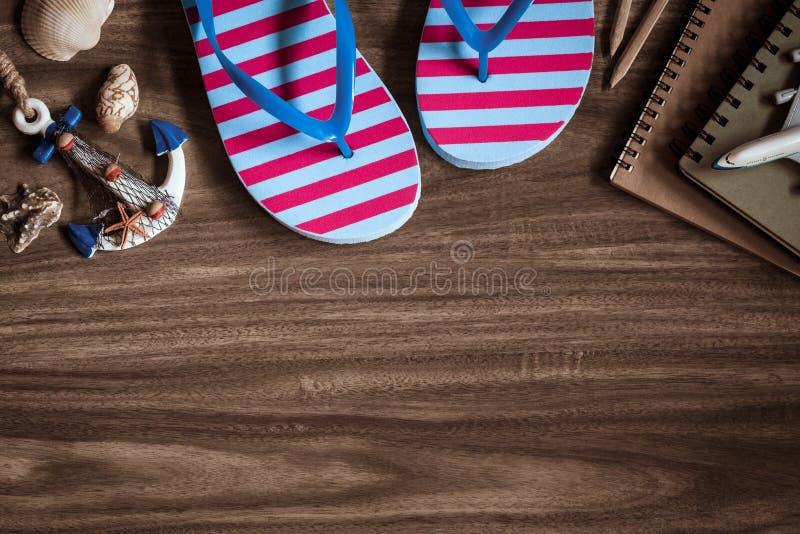 Wakacje Letni plaży podróży Planistyczny pojęcie: Odgórny widok sanda obrazy stock