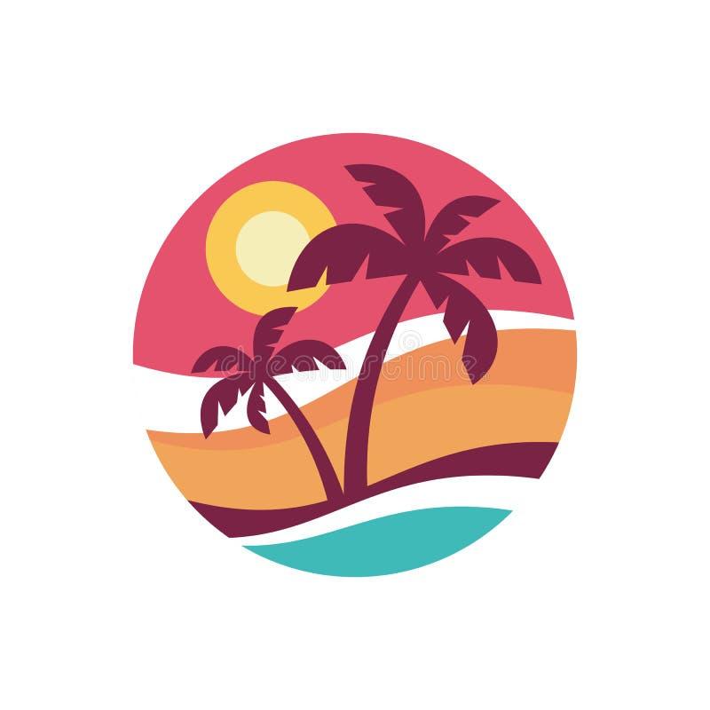Wakacje letni - pojęcie biznesowego logo wektorowa ilustracja w mieszkanie stylu Tropikalnego raju kreatywnie odznaka Palmy, plaż ilustracji