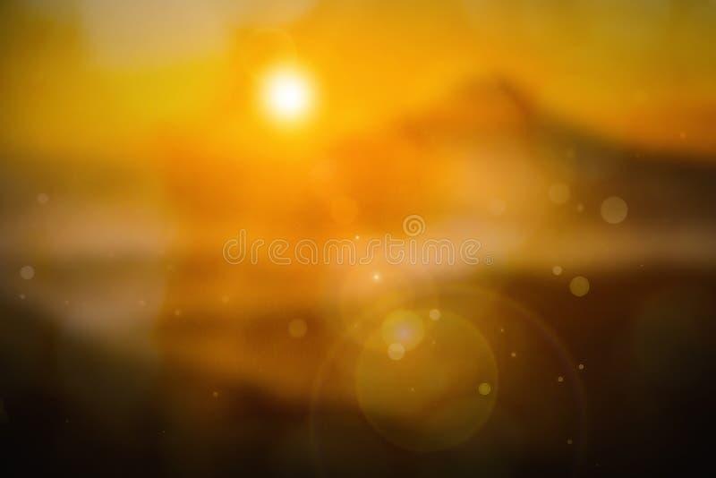 Wakacje letni pojęcie: słońca światło i abstrakcjonistyczny plama koloru żółtego tło ilustracji