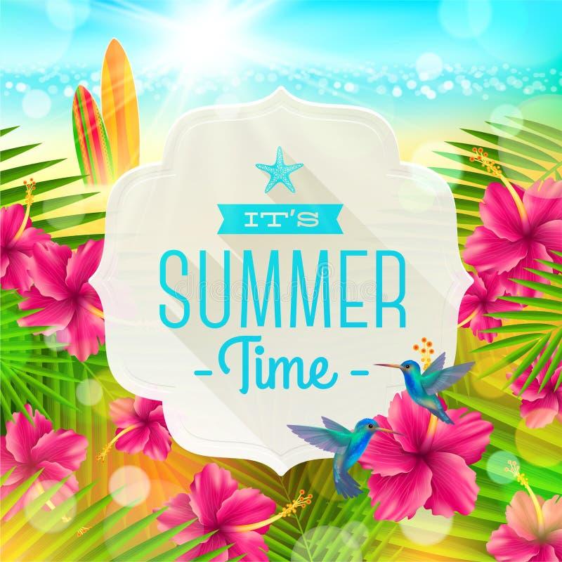 Wakacje letni powitanie ilustracja wektor