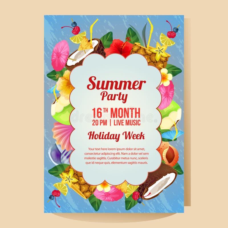 Wakacje letni przyjęcia plakat z kolorowym napojem ilustracja wektor