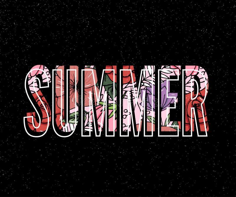 wakacje letni slogan z ananasowych i tropikalnych kwiat ilustracyjnych sprzeda?y ulotki sztandaru Wakacyjnym plakatem ilustracji