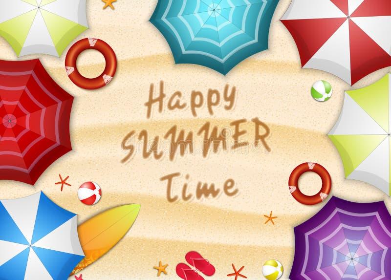 Wakacje Letni wyrzucać na brzeg tło Odgórny widok parasole, surfboard, boja, kapeć, rozgwiazda i plażowa piłka wiele, royalty ilustracja