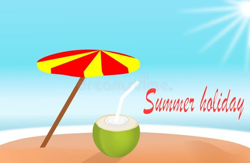 Wakacje letni wyspy plaża z koks wody napoju projektem dla sztandaru lub plakata Wektorowy ilustracja znak ilustracji