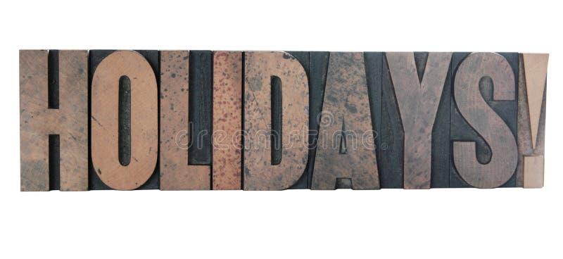 wakacje letterpress starego typu drewna zdjęcia royalty free