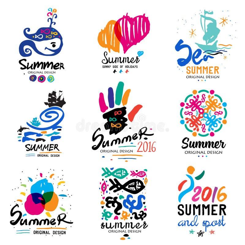 Wakacje logo Tropikalny raj, weekendowa wycieczka turysyczna, plaża wakacje projekta elementy ilustracji