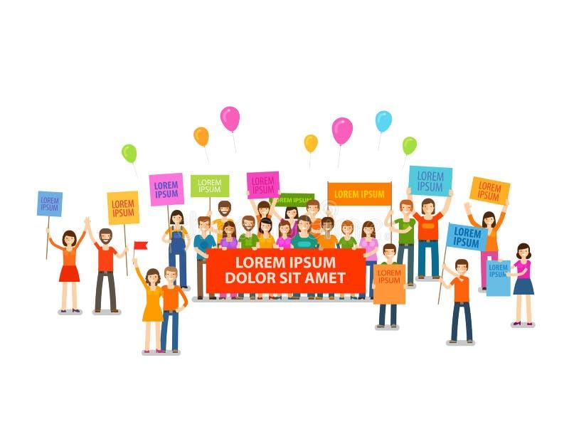 Wakacje lub demonstracja, wiec Tłum ludzie z plakatami również zwrócić corel ilustracji wektora ilustracja wektor