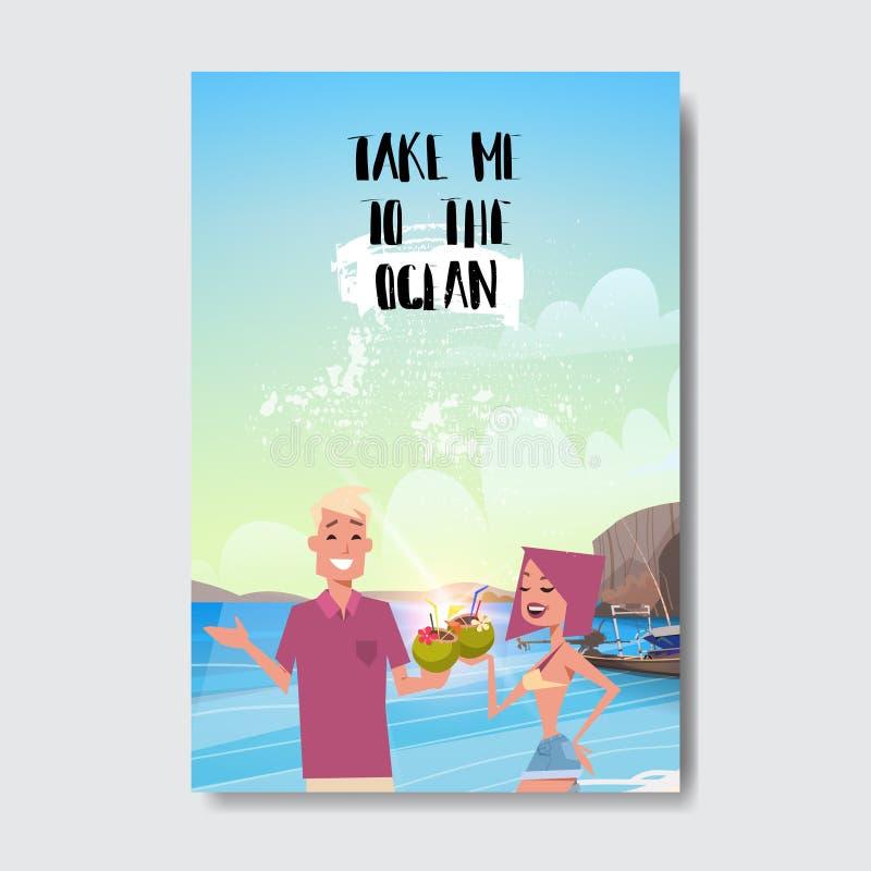 Wakacje mężczyzna kobiety pary portret relaksuje krajobraz odznaki projekta plażową etykietkę Sezonów wakacje pisze list dla loga ilustracja wektor