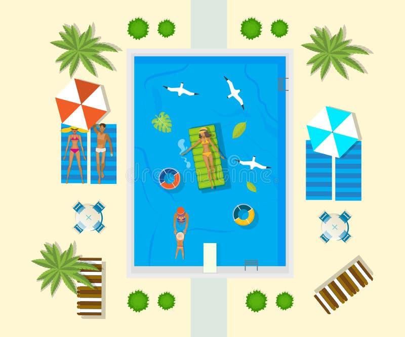 Wakacje na morzu Rodzina jest odpoczynkowa w basenie przy hotelem ilustracja wektor