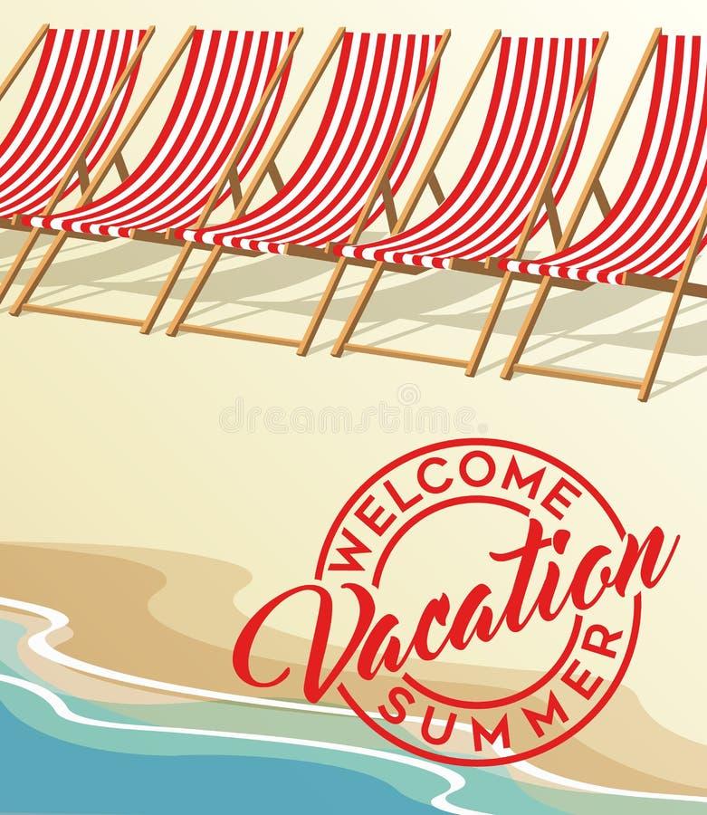 Wakacje plaża i roczników plażowi krzesła ilustracja wektor