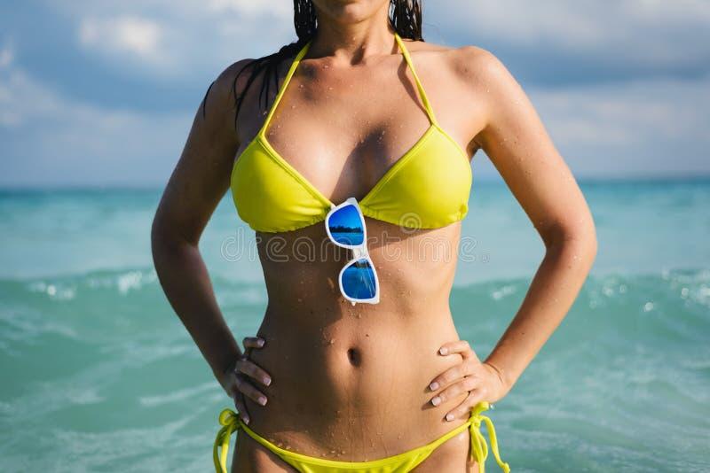 Wakacje przy karaibskim podróży pojęciem i plażą fotografia stock