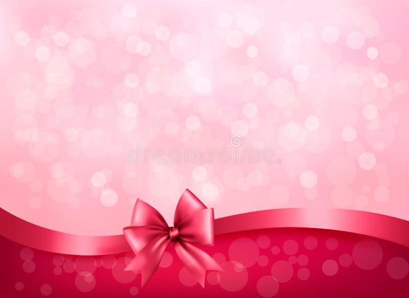Wakacje różowy tło z prezenta glansowanym łękiem i r ilustracja wektor