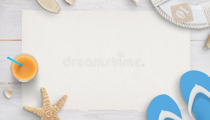 Wakacje skład z czystym papierem w środku dla teksta fotografia stock