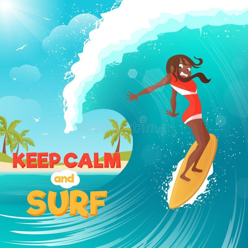 Wakacje surfingu Płaski Kolorowy plakat royalty ilustracja