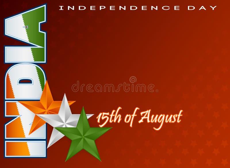 Wakacje szablon dla fifteenth Sierpień, Indiański dzień niepodległości ilustracja wektor