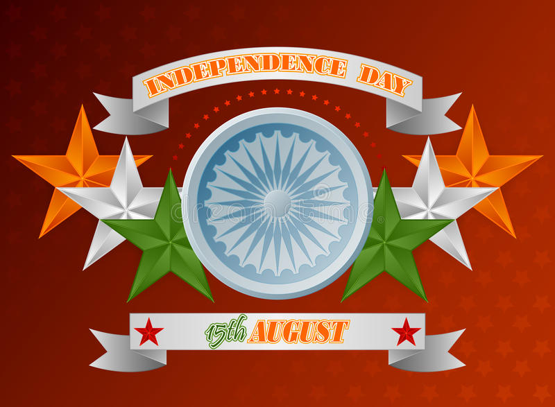Wakacje tło z pomarańcze, bielem i zielenią, gra główna rolę dla fifteenth Sierpień, Indiański dzień niepodległości ilustracji