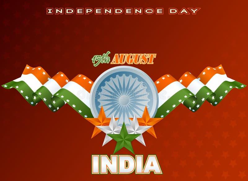Wakacje tło z pomarańcze, bielem i zielenią, gra główna rolę dla fifteenth Sierpień, Indiański dzień niepodległości royalty ilustracja